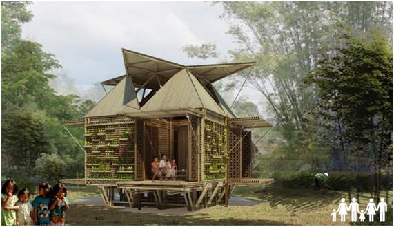 con metros blooming bamb est construida en torno a un marco central y est revestida con materiales de origen local incluyendo bamb