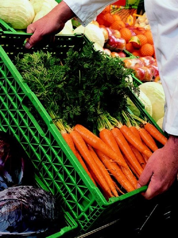 Cajas de plástico reutilizables y de cartón de un solo uso en la distribución de frutas y hortalizas en España