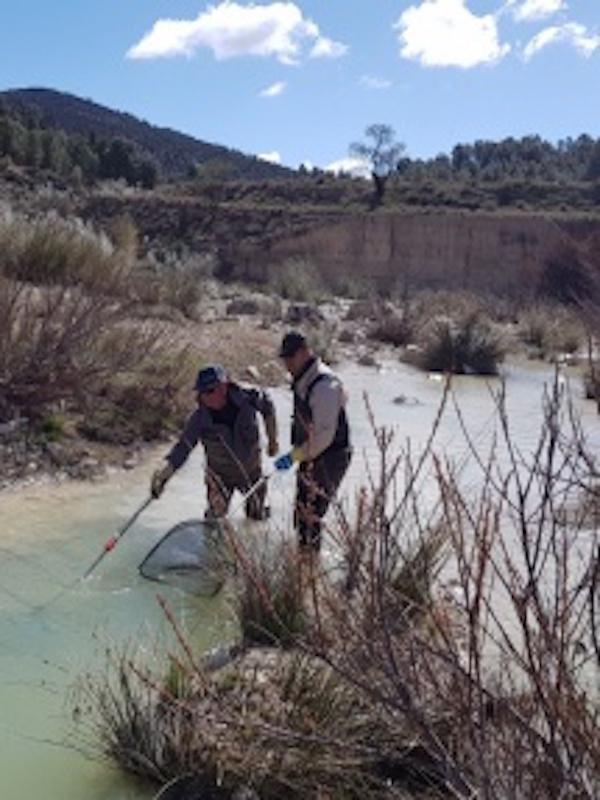 Voluntarios realizan un muestreo del río Alcaide en el Parque Sierra María Los Vélez