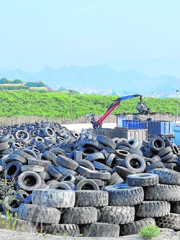 Investigan a una empresa por abandonar más de 100 neumáticos junto a un camino rural en Sevilla