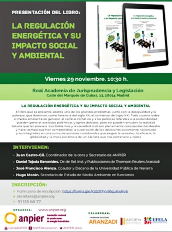 ANPIER presenta un libro imprescindible 'LA REGULACION ENERGÉTICA Y SU IMPACTO SOCIAL Y AMBIENTAL'