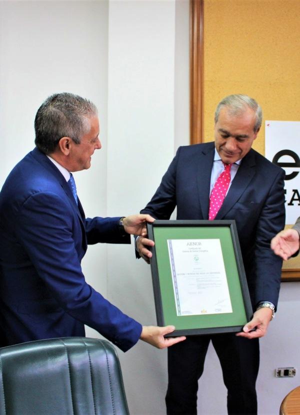 AENOR certifica a GESTAGUA como la primera empresa en obtener la nueva certificación ISO 50001 de Gestión Energética