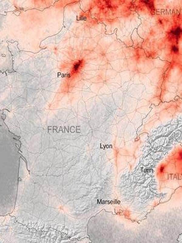 La caída de la contaminación por el COVID-19 se ve desde el espacio