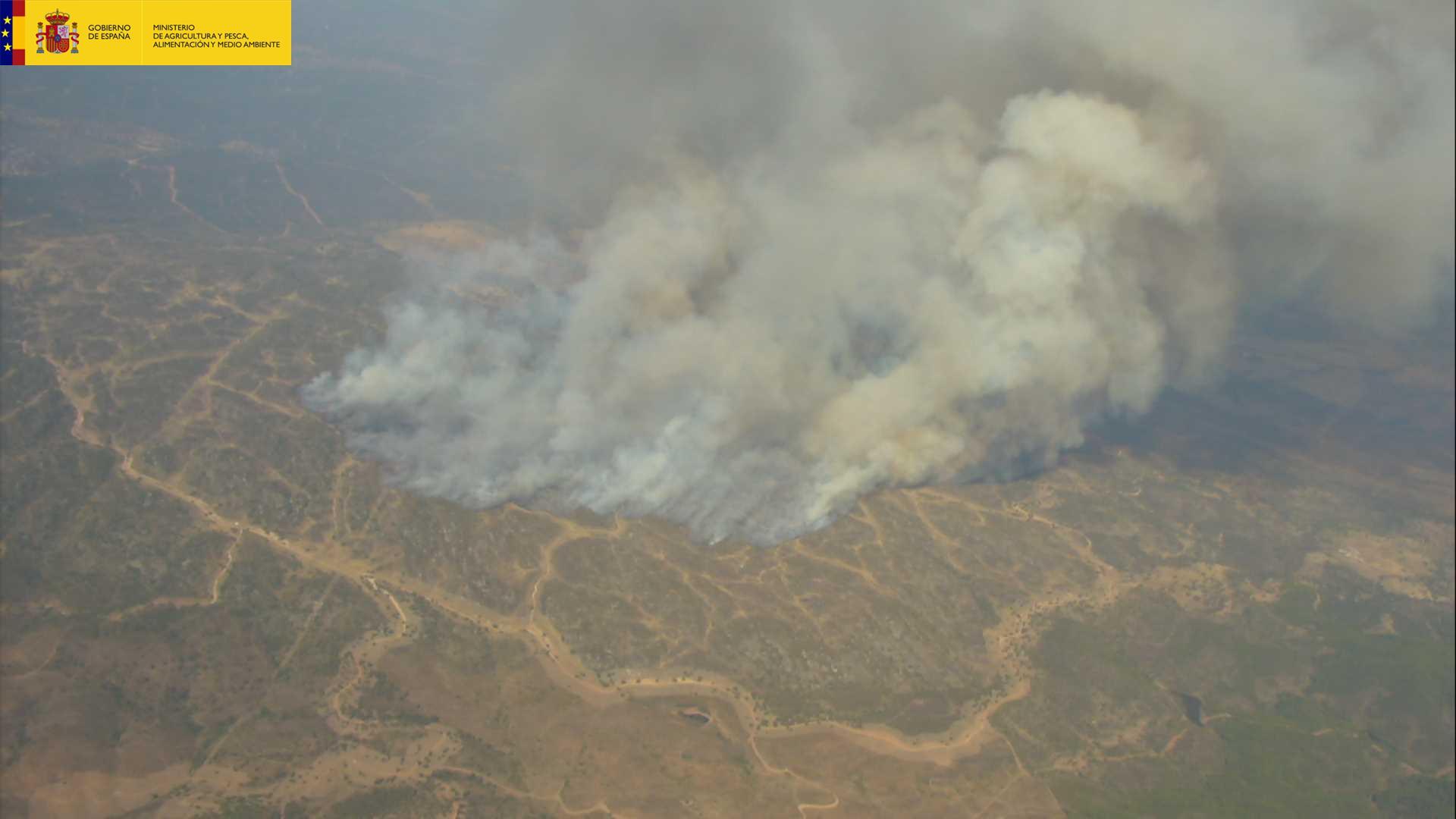 6 medios aéreos del MAPAMA trabajan en la extinción del incendio forestal declarado en Almadén de la Plata (Sevilla)