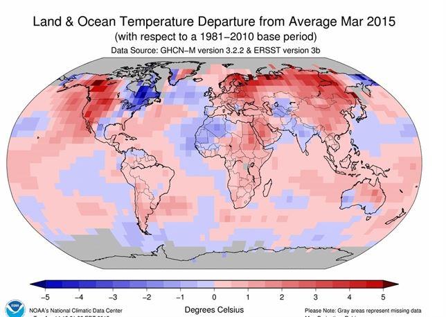 El mes de marzo ha sido el más caluroso a nivel mundial de los últimos 135 años
