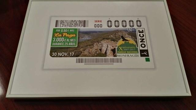 El X aniversario de la declaración de Monfragüe como Parque Nacional será la imagen del cupón de la ONCE