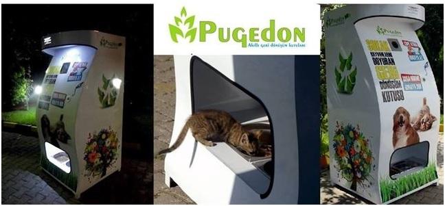 Una máquina que recicla y alimenta perros abandonados