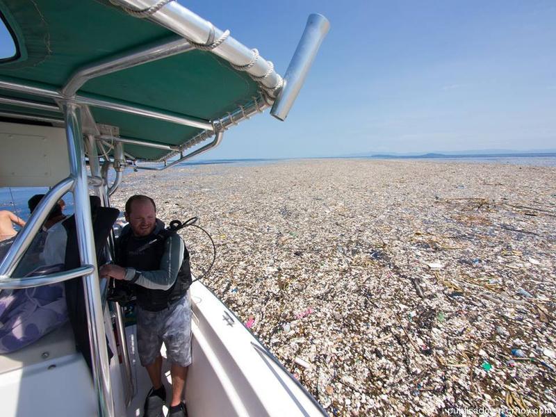 ¡Terrible! Alertan sobre mar de plástico frente a costa hondureña