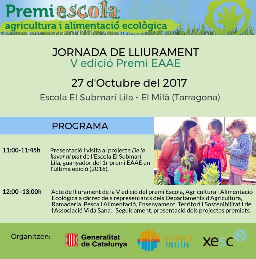 MAMATERRA El Submarí Lila acogerá la jornada de entrega del Premi Escola, Agricultura i Alimentació Ecològica 2017