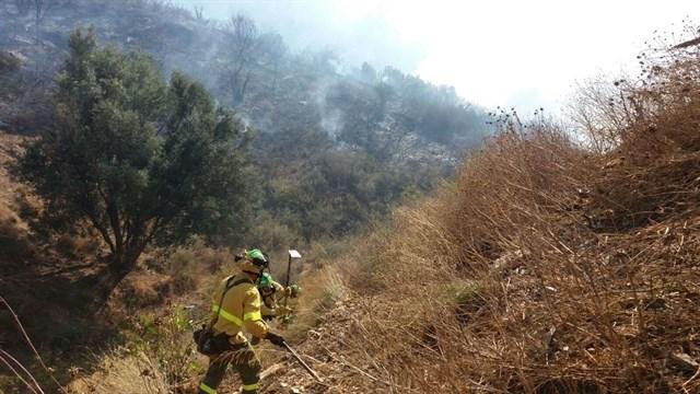 Controlado un incendio forestal en el paraje de la Loma de Molina en Marbella