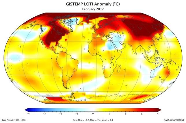 2017 ha tenido el segundo febrero más cálido en el mundo desde 1880