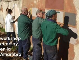 Morteros de arcilla Ecoclay en la Alhambra con Laurent Coquemont