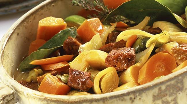 Estofado de verduras con seitán