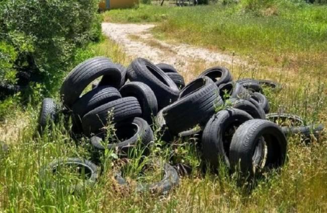 Neumáticos abandonados en el Cerro del Prado en San Roque